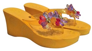 BCBG Paris Crystal Wedge Water-resistant Summer Sunflower Sandals