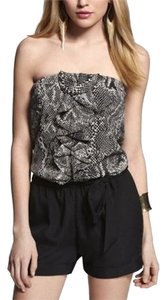 Express Romper Nightout Cuffed Shorts Black/White Snakeskin