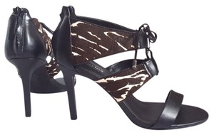 Charles by Charles David Black And White Leather Zebra Sandals
