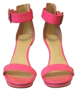 Calvin Klein Vivian Hot Neon Prom Sexy Comfortable Heels Sandal Formal Casual Leather Patent Leather Pink Platforms