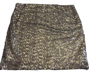 Decree Sequin Glitter Mini Skirt Gold