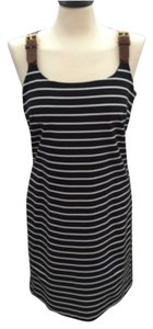 Michael Kors short dress Navy and off white Ponte Knit Sheath Buckled Straps on Tradesy