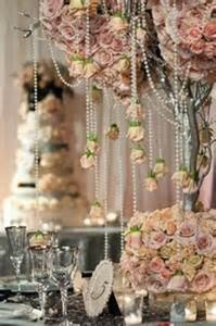 White Hanging Pearls Reception Decoration