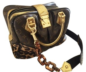 Louis Vuitton Satchel in brown monogram, brown spotted leopard