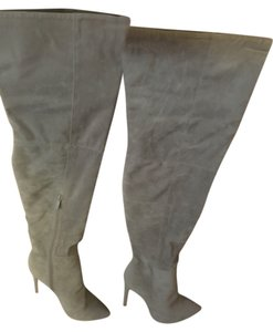 Martin + Osa Thigh High Suede Heel Gray Boots