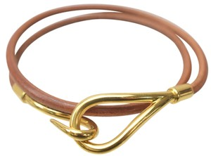 Herms Authentic Hermes Bracelet Jumbo Brown Leather Necklace