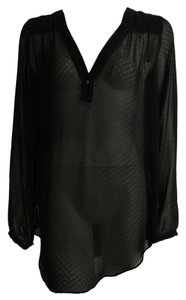 BCBGeneration V-neck High Low Tunic Top Black