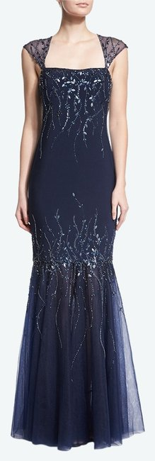 Item - Midnight Square Neckline Embellished Mermaid Gown Long Formal Dress Size 4 (S)