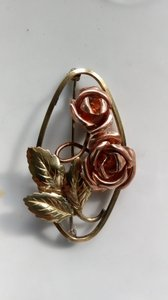 Gold Copper Russian Retro Flower Brooch/Pin