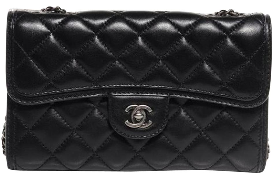 c3cfe429c302 Chanel 2.55 Reissue East West W Citizen Zip Classic Flap Mini Woc Wallet On  A Chain E/W Black Lambskin Leather Cross Body Bag