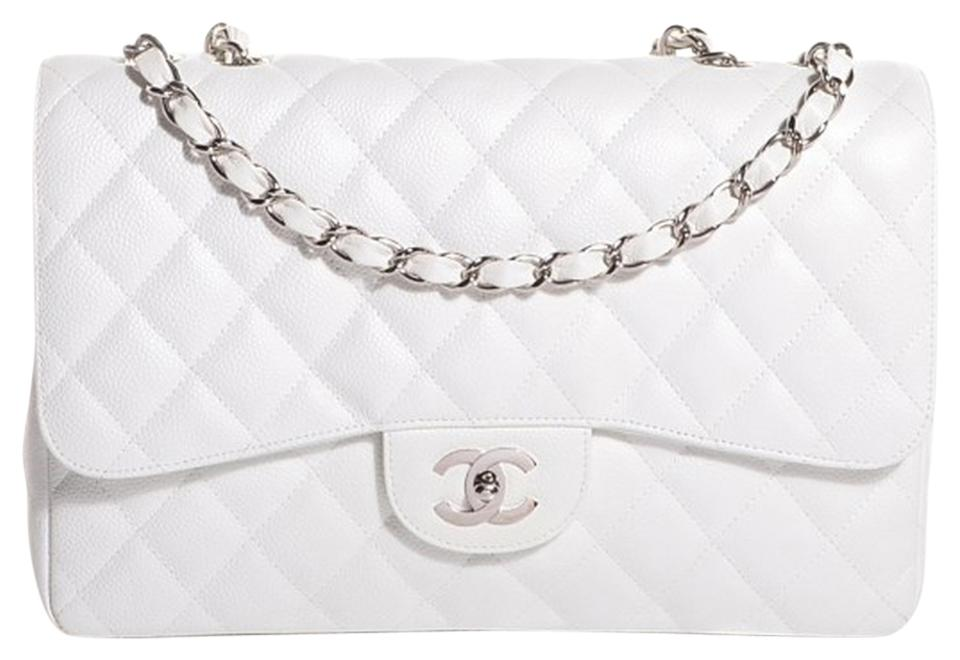 c211ab97c11a Chanel 2.55 Reissue Classic Quilted Jumbo Maxi Single Flap Cc Logo White  Caviar Leather Shoulder Bag