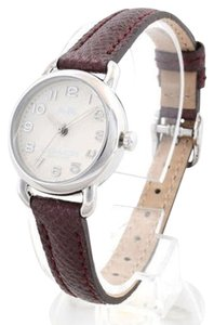Coach Coach Women's Delancey Mini Burgundy Luminescent Leather Silver Tone Stainless Steel Beige Dial Watch 14502284