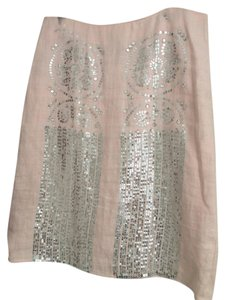 Tory Burch Sequin Linen Skirt Baby Pink