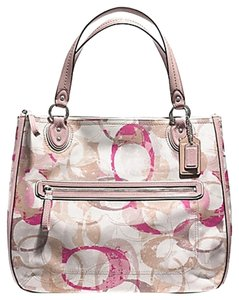 Coach Floral Tote in Silver Neutral Multi pink