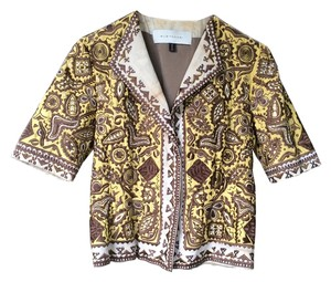 Elie Tahari Ethnic Yellow with brown embroidery and white accents Jacket