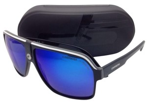 Carrera New Sunglasses CARRERA 33/S 8V6Z0 62-11 Black White & Grey Frame w/ Blue Mirror Lenses