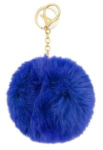 Blue Pom Pom Key Chain Rabbit Fur Bag/Purse Charm BONUS Necklace