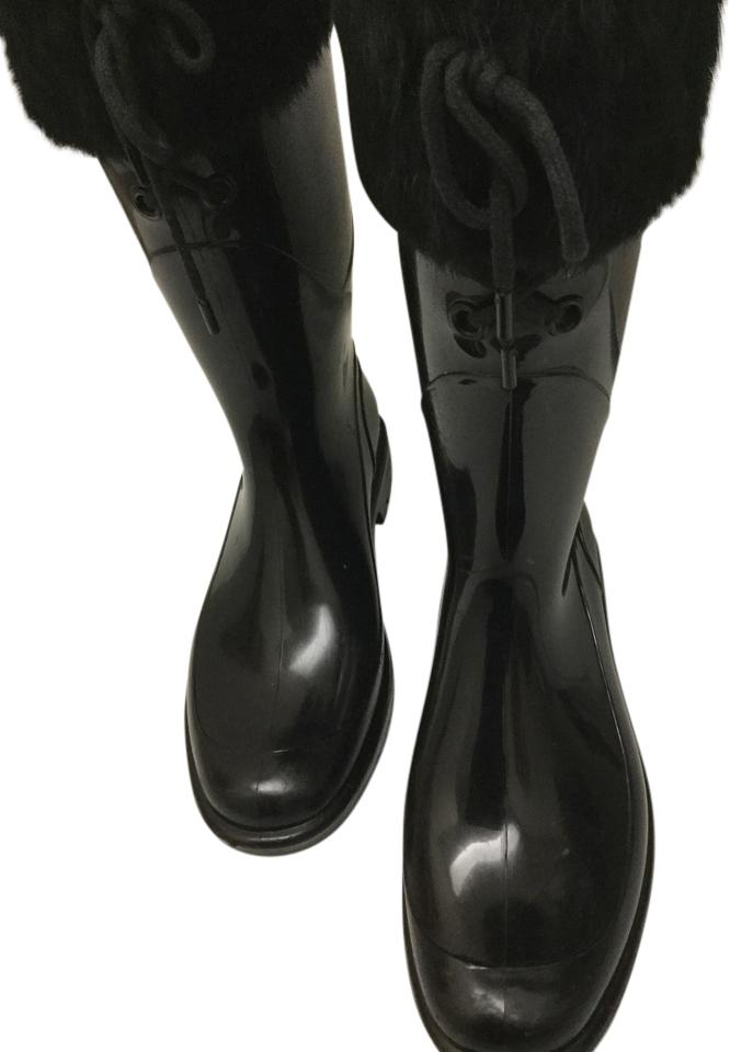 Burberry Black Sophisticated with Black Fur Sophisticated Black Fox Trimmed Boots/Booties a32332