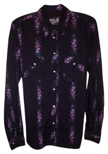 Hurley Button Down Shirt Mens Black Floral