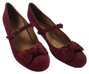 Chie Mihara Suede Mary Janes Bow Leather Made In Spain 39.5 Euro Size 9.5 Size 10 burgundy Pumps