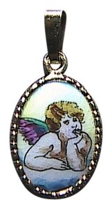 Vintage 14k Solid Yellow Gold Hand Painted Porcelain Cherub Angel Pendant