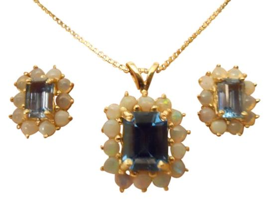 unknown vintage 14 kt gold blue topaz and opal pendant and earrings