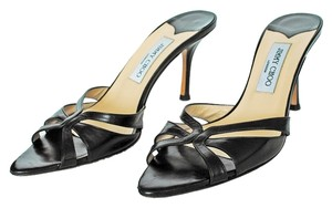 Jimmy Choo Leather Pointy Toe Faceted Heels Unique Heels Sexy Leather Pointed Toe Slides Black Mules