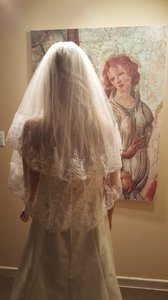 White 2 Tier Sequin Lace Elbow Length Bridal Veil