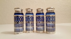 Vintage Japan Silver Plate Cobalt Blue Glass Salt And Pepper Shakers Set Of 2