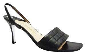 Chanel Square Toe Leather Black Sandals