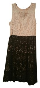 champagne and strawberry short dress beige and black on Tradesy