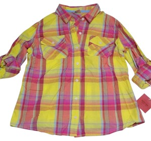 Mossimo Supply Co. Color Plaid Longsleeve Button Down Shirt multi color, pink, yellow