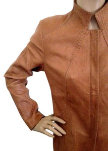 Elie Tahari Leather Stitched Brown Leather Jacket