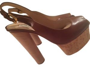 Prada Leather brown Platforms
