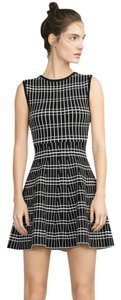 Zara short dress Black white Large Fit Flare Stretch Knit Black on Tradesy