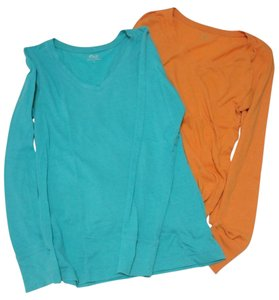 SO Longsleeve All Season Juniors Medium V-neck Top Blue and Orange