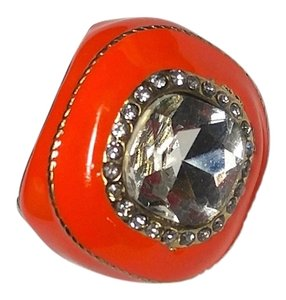 Other New Chunky Orange Silver Adjustable Statement Ring J2142