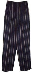 Ralph Lauren New Vintage Size 4 Retro High Waist Wide Leg Cuffed Paperbag Waist Trouser Pants Navy Blue, Cream Pinstripes
