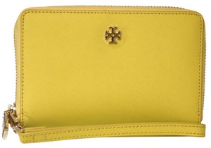 Tory Burch TORY BURCH Yellow York Leather Multi-Task Smartphone Wristlet