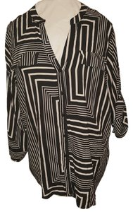 Calvin Klein Bold Striped Color-blocking Top black and white
