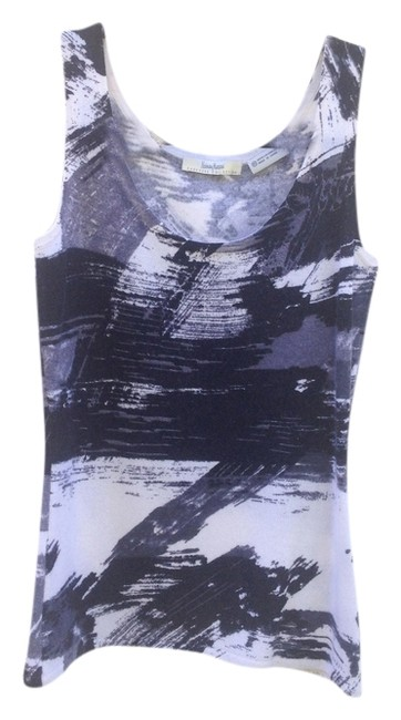 Neiman Marcus Collection Cashmere Soft Top Abstract Black & white