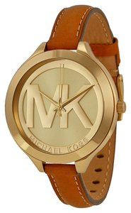 Michael Kors Gold tone MK Logo Dial Brown Leather Slim Strap Designer Casual Watch