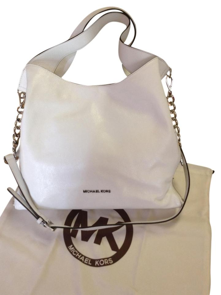 57a8bf351c04 Michael Kors Devon Large Optic White Leather Tote - Tradesy