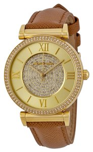 Michael Kors Crystal Pave Dial Gold Tone Brown eather Strap Casual Designer watch