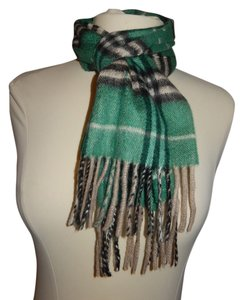 Burberry London Childrens Burberry London Green Plaid Scarf with Fringe