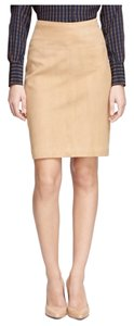 Brooks Brothers Vintage Suede Leather Soft Fall Winter Skirt Nude Tan