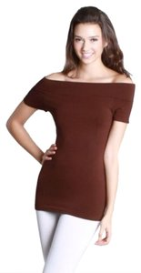 Nikibiki Short Sleeve Off Brown Seamless Top Dark Brown