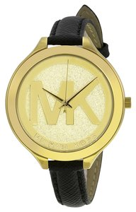 Michael Kors MK Logo Gold tone Dial Black Leather Strap Designer Fashion Watch