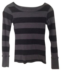 Billabong T Shirt Gray and black stripe