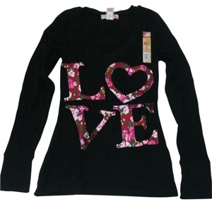 No Boundaries Graphics Love Sweetheart Hearts Floral Longsleeve Fall Spring Winter Casual V-neck Thermal Waffle Top Black